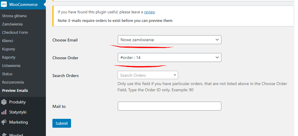 podgląd emaila